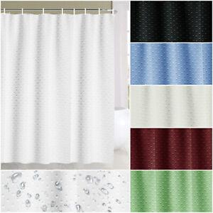 Plain White Shower Curtain with Free Hooks Waterproof Fabric Bathroom Curtain