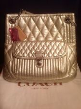 Coach Poppy Quilted Platinum Gold Metallic Leather Slim Tote 19854 CLEAN EUC