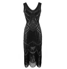1920s Flapper Dress Sequins Beaded Fringe Vintage Evening Long Prom Dresses UK