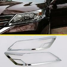 For Honda Accord 2013 2014 2pcs Front Head Light Lamp Cover ABS Chrome Trim