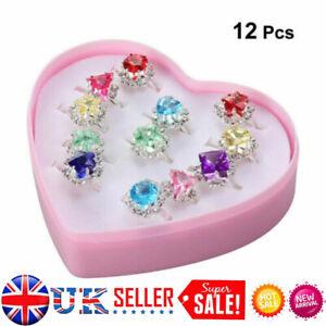 Costume Jewellery Girl Child Adjustable Kids Ring Set 12X Crystal Rings Gift UK,
