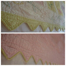Pottery Barn Kids Patchwork Floral Applique Scalloped  Quilt TWIN Reverse Pastel