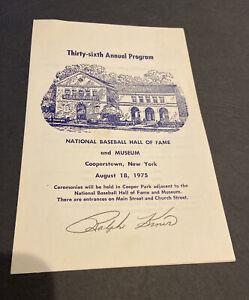 SHARP 1975 RALPH KINER SIGNEF 8/8/75 COOPERSTOWN HOF INDUCTION BASEBALL PROGRAM