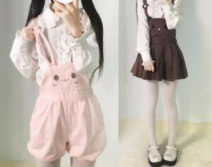 Women Japanese Sweet Lolita Kawaii Rabbit Brown Bear Suspender Skirt Shorts