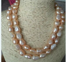 Natural 9-10mm Baroque Pink Freshwater Pearl Necklace 36'' AAA