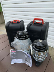 Two Coleman North Star 2590 Propane Camp Camping Lantern with Hard Storage Case