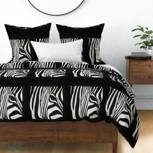 Zebra Screen Animals Photographic Sateen Duvet Cover by Roostery