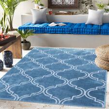 Modern Teal Trellis Rug Washable Indoor Outdoor Rugs Easy Clean Garden Patio Mat