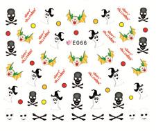 Nail Art Stickers Water Transfers Decals Happy Halloween Skulls (E066)