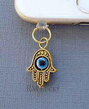 Gold Hamsa Hand cell phone Charm Anti Dust proof Plug ear jack For iPhone C139