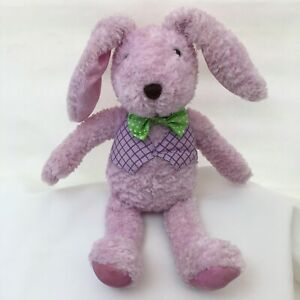 "Hallmark Bunny Rabbit Lavender Purple Green Vest Bow Tie Plush 11"" Toy Lovey"