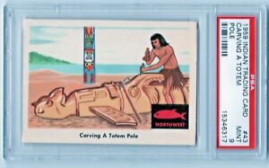 1959 Fleer Indians #43 Northwest Carving A Totem Pole To Honor Chief PSA 9