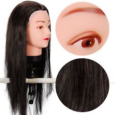 """TH50 Hairdressing 50% Real Hair Training Head Doll Mannequin 21"""" with clamp"""