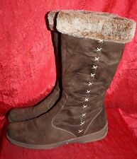 MARCO TOZZI Faux-Fur-Lined Boots UK8 EU41 Brown Faux-Suede Square Toes Warm Flat