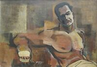 VINTAGE MID MODERN CHICAGO AFRICAN AMERICAN BOXER PAINTING STYLE MARSDEN HARTLEY