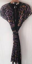 Diane von Furstenberg DVF Black Signature Unlined Silk Angel Wrap Dress Size 6