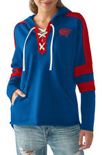 Columbus Blue Jackets Women's Blue & Red Lace Up Collar Pullover Hoodie NHL M