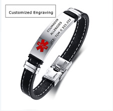 Leather Medical Alert ID ICE Bracelet Bangle Cuff Stainless Steel Free Engraving