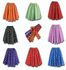 Ladies Polka Dot Skirt & Scarf  Rock & Roll Fancy Dress 50'S Jive Grease Costume
