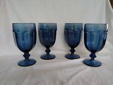 "Set Of 4 Libbey Duratuff Gibraltar Dusky Blue Goblets @ 7"" High"