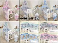 BABY BEDDING SET COT & COT BED 3,5,7,9 PCS PILLOW, DUVET,BUMPER CANOPY /HOLDER