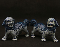 "6.3"" China Jingdezhen Blue White Porcelain Foo Fu Dog Guardion Lion Statue Pair"