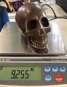 Bronze Skull  Head Statue Sculpture Freaky And Evil Strange