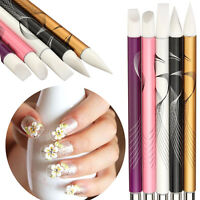 5 x Silicone Tip UV Gel Acrylic Nail Art Brushes Set Carving Painting Pen Tools