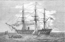 MILITARIA. Exmouth, 91-Flag of rear-admiral Seymour, antique print, 1855