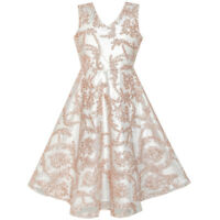 Sunny Fashion Girls Dress V Neckline Embroidered Floral Champagne Age 6-12 Years