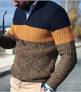 Mens Warm Knitted Lapel Long Sleeve Jumper Pullover Casual Sweater Winter Coat