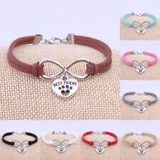 Dogs Paw Best Friend Cat Charms Pendant Velvet Leather Infinity Bracelet Bangle