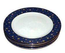 Galaxy Holiday Christmas Dinnerware Sakura Set of 4 Dinner Plate Lot Blue Gold