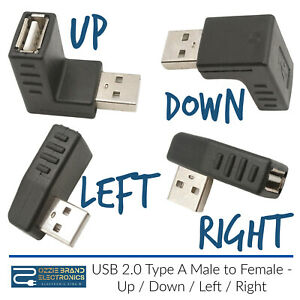 90 Degree USB 2.0 A Male to A Female Up Down Left Right Angled Extension Adapter