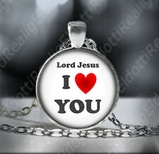 Lord Jesus I Love You. Inspirational Catholic Necklace. Strength Faith Pendant