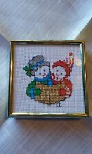 Christmas Cross Stitch Completed & Framed Carolers 3.5""