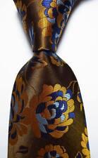New Classic Floral Gold Brown Blue JACQUARD WOVEN 100% Silk Men's Tie Necktie