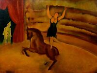 SCENE CIRCLE WITH HORSE. OIL ON TABLEX. SIGNED CELSO LAGAR (?). SPAIN. TWENTIETH