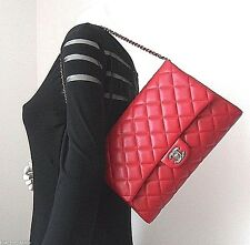 CHANEL Classic Red Lamb Leather CC Timeless Clutch Short Chain Shoulder Bag NEW