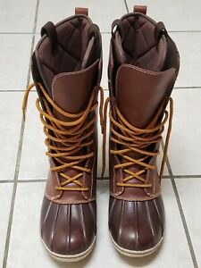 L.L. Bean Womens Bar Harbor All-Weather Duck Boots Brown Mid Calf Lace Up 8