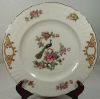 "Epiag Czechoslovakia Peacock & Floral 10"" Dinner Plate(s) Circa 1920's"