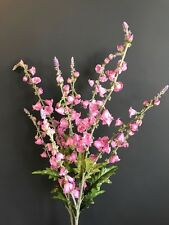 Tall Pink Artificial Canterbury Bells Campanula Realistic Faux Silk Wild Flowers