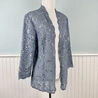 SIZE 16 Alex Evenings Blue Sequin Lace Open Jacket Blouse Top Shirt L / XL NWT