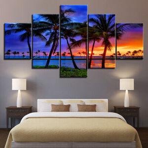 Sea Beach Palm Tree Painting Sunset Seascape Canvas Print Painting Wall Art 5PCS