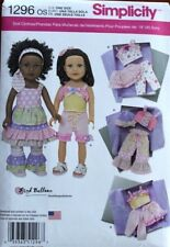 "18"" GIRL DOLL CLOTHES Simplicity Sewing Pattern 1296 American Made NEW Uncut"