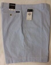 """NWT Men's Chaps 40W Inseam 9"""" Flat Front FL Blue White Stripe Seersucker Shorts"""