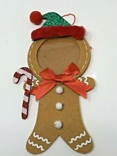 """Gingerbread Person Felt Christmas Ornament Photo Picture Frame Abt 8"""" H"""