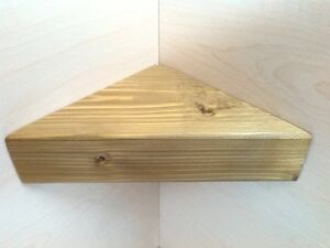 CORNER SHELF - Vintage style Solid Chunky Wood - MEDIUM OAK - 30CM WIDE