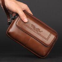 Men's Genuine Leather Fanny Waist Bag Phone Card Holder Clutch Wallet Coin Purse