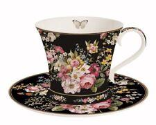 """Tasse mit Untertasse """"Blooming Opulence"""" schwarz in Geschenkbox von Nuova R2S"""